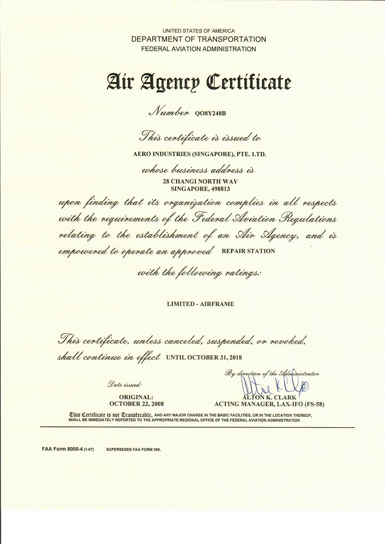 FAA Approval Certificate 2018