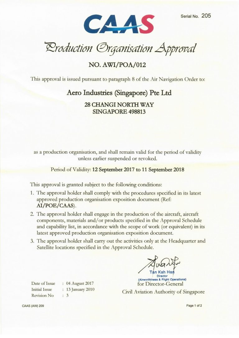 CAAS 21 Approved Certificate (2017-2018)