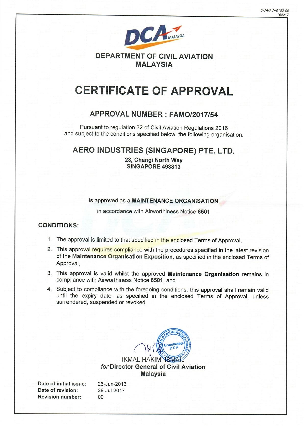 DCAM 145 Approval Certificate