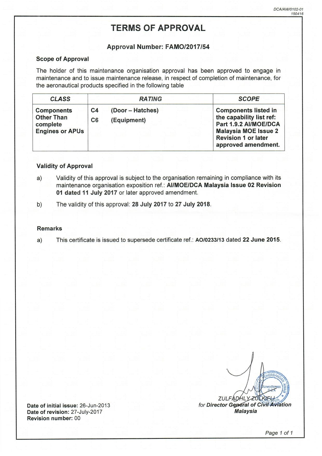 DCAM 145 Approval Certificate -2