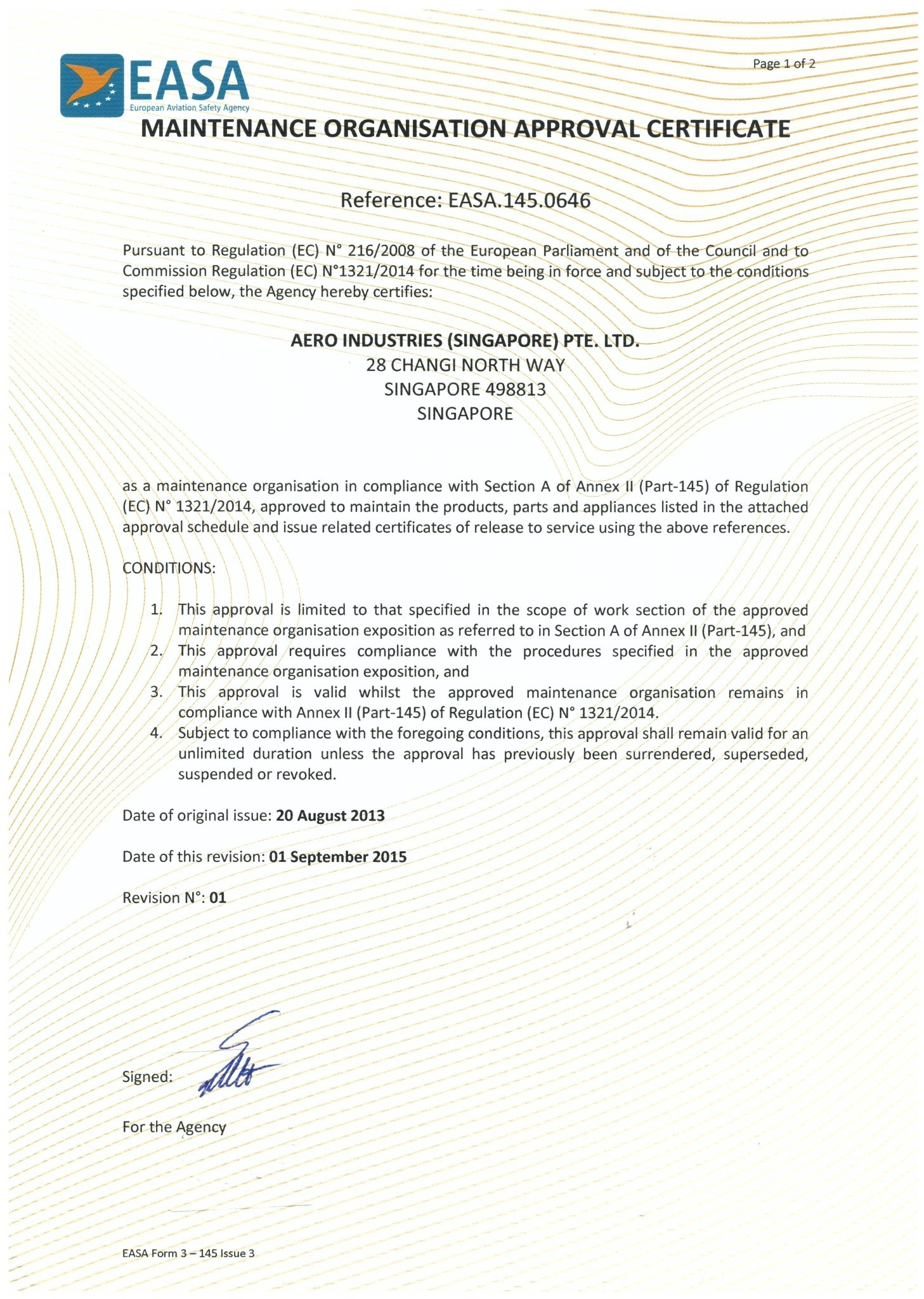 EASA 145 Approval Certificate