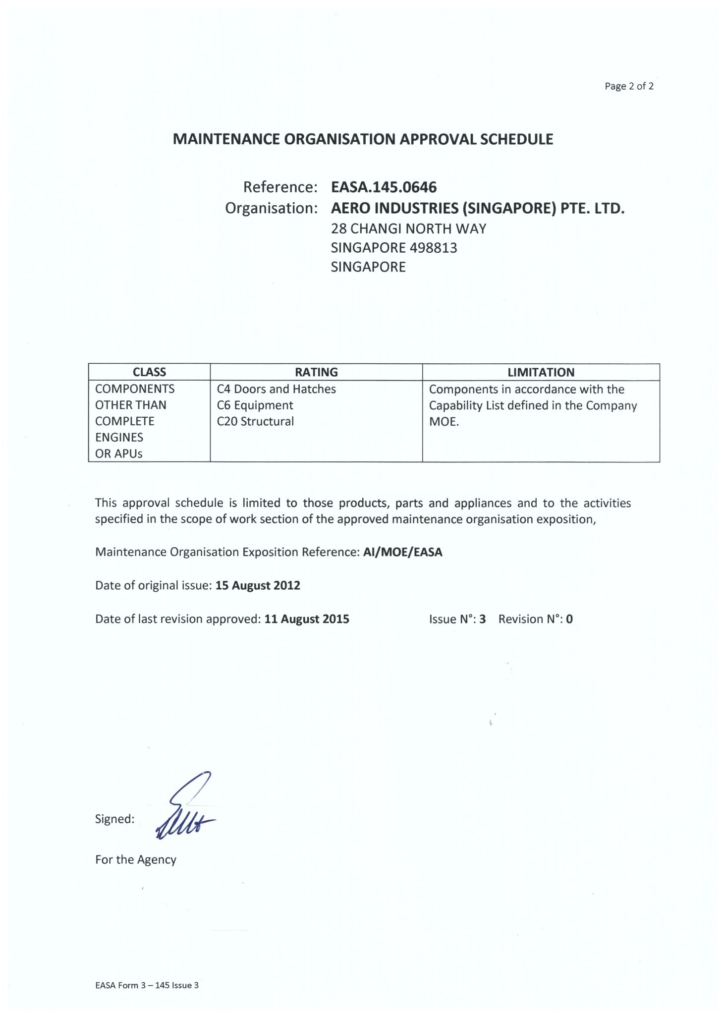 EASA 145 Approval Certificate -2